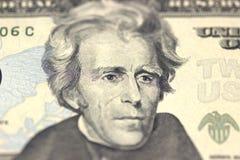 Andrew Jackson vänder mot på räkningmakro för USA tjugo eller 20 dollar, Förenta staterna pengarcloseup Royaltyfri Foto