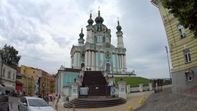 Andrew`s Church on hill. In Kyiv stock video