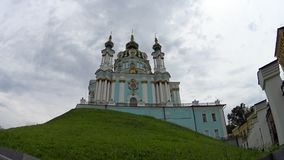 Andrew`s Church on hill. In Kyiv stock video footage