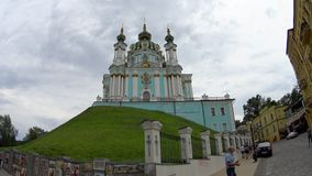 Andrew`s Church on hill. In Kyiv stock footage