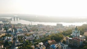 Andrew`s Descent historcal old street in Kiev Kiyv Ukraine. Top view from above. Aerial drone video footage. Sunrise backlight stock footage