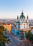 Andrew& x27; s Kerk Kiev, de Oekraïne Kyiv, de Oekraïne Stock Foto's