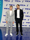 Andrew Taggart and Alex Pall of The Chainsmokers. At the 2017 MTV Video Music Awards held at the Forum in Inglewood, USA on August 27, 2017 royalty free stock images