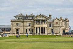 Andrews Clubhouse and Golf Course of the Royal & Ancient where golf was founded in 1754, considered by many to be the royalty free stock photo