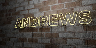 ANDREWS - Glowing Neon Sign on stonework wall - 3D rendered royalty free stock illustration Stock Photography