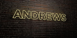 ANDREWS -Realistic Neon Sign on Brick Wall background - 3D rendered royalty free stock image Stock Photos