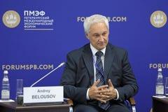 Andrey Belousov. SAINT-PETERSBURG, RUSSIA - JUN 17, 2016: St. Petersburg International Economic Forum SPIEF-2016. Andrey Belousov, Aide to the President of the Royalty Free Stock Image