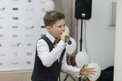 Andrey Boyko. Kiev, Ukraine - 6 June 2014.  Andrey Boyko is winner  of vocal festival New Wave Junior 2014 and semifinalist of Ukrainian show The Voice Kids 2012 Royalty Free Stock Photography