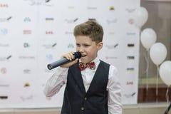 Andrey Boyko. Kiev, Ukraine - 6 June 2014.  Andrey Boyko is winner  of vocal festival New Wave Junior 2014 and semifinalist of Ukrainian show The Voice Kids 2012 Stock Photo
