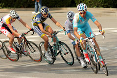 Andrey Kashechkin of Astana. Andrey Kashechkin(R) of Astana rides during the Tour of Catalonia cycling race through the streets of Monjuich mountain in Barcelona Stock Photography