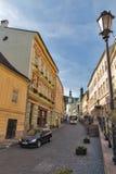 Andrey Kmet-straat in Banska Stiavnica, Slowakije Stock Fotografie