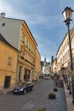 Andrey Kmet street in Banska Stiavnica, Slovakia. Stock Photography