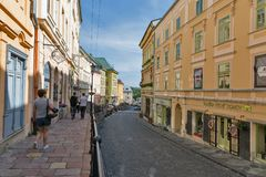 Andrey Kmet street in Banska Stiavnica, Slovakia. Royalty Free Stock Photo