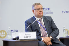 Andrey Kostin. SAINT-PETERSBURG, RUSSIA - JUN 16, 2016: St. Petersburg International Economic Forum SPIEF-2016. Andrey Kostin - Russian banker, currently Royalty Free Stock Photography