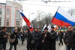 Andrey Makarevich y Irina Prokhorova en la paz marzo Foto de archivo libre de regalías