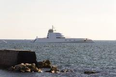 Andrey Melnichencko Yacht in Naples. NAPLES, ITALY - AUGUST 30: Andrey Melnichencko´s Yacht at the Naples coast on August 30, 2012 in Naples, Italy Stock Photo