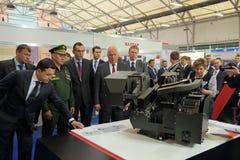 Andrey Vorobyov, Sergey Shoygu en Sergey Chemezov Stock Fotografie