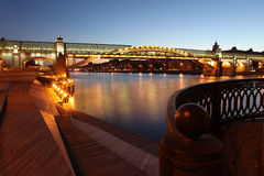 Andreyevsky (Pushkinsky) Bridge (left side) across Moskva River, Stock Images