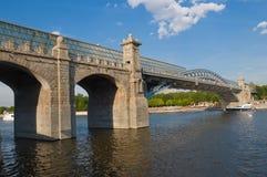 Andreyevsky  and Pushkinsky Pedestrian Bridge Royalty Free Stock Images