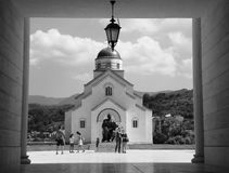 Andric city. In Andric city - a project of the famous Serbian director Emir Kusturica, built a magnificent temple dedicated to the Holy Prince Lazar and Kosovo Royalty Free Stock Photo