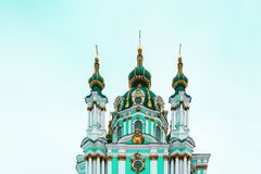 Andriivska orthodox christian church dome in Kyiv, Ukraine. Royalty Free Stock Images