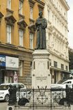 Andrija Kačić Miošić moument in Zagreb. Andrija Kačić Miošić  April 17, 1704 – December 14, 1760 was a Croatian poet and Franciscan monk, descendant of Royalty Free Stock Images