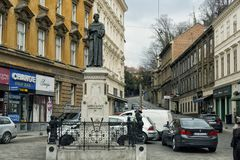 Andrija Kačić Miošić moument in Zagreb. Andrija Kačić Miošić  April 17, 1704 – December 14, 1760 was a Croatian poet and Franciscan monk, descendant of Stock Photo