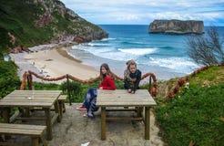 Andrin海滩,坎塔布里亚,西班牙 免版税图库摄影