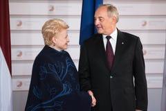 Andris Berzins и Dalia Grybauskaite Стоковое Фото