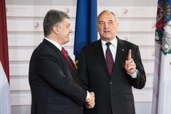 Andris Berzins и Petro Poroshenko Стоковое фото RF