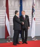 Andris Berzins и Petro Poroshenko Стоковые Изображения RF