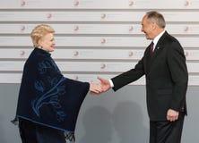 Andris Berzins and Dalia Grybauskaite Stock Image