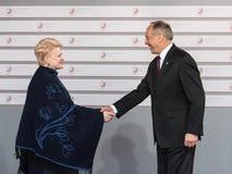 Andris Berzins and Dalia Grybauskaite. RIGA, LATVIA - May 21, 2015: Eastern Partnership Sammit. President of Latvia Andris Berzins welcomes Lithuanian President Stock Photo