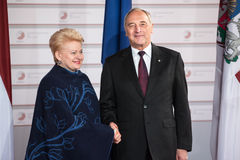 Andris Berzins and Dalia Grybauskaite. RIGA, LATVIA - May 21, 2015: Eastern Partnership Sammit. President of Latvia Andris Berzins welcomes Lithuanian President Stock Photography