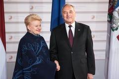 Andris Berzins and Dalia Grybauskaite Stock Photography