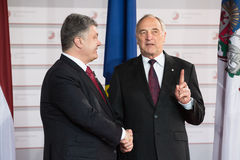 Andris Berzins and Petro Poroshenko Royalty Free Stock Photo