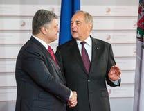 Andris Berzins and Petro Poroshenko Royalty Free Stock Photos