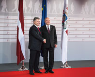 Andris Berzins and Petro Poroshenko Stock Photos