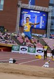 Andriy AVRAMENKO od Ukraina na skok w dal wydarzeniu przy IAAF Światowymi U20 mistrzostwami w Tampere, Finlandia na Lipu 11, 2018 Obrazy Stock