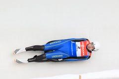 Andriy Mandziy - luge. Andriy Mandziy from Ukraine in men's singles luge race held in Altenberg in Germany on 21.2.2015 Royalty Free Stock Images
