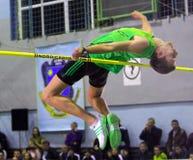 Andriy Protsenko auf Hochsprung Stockfotos