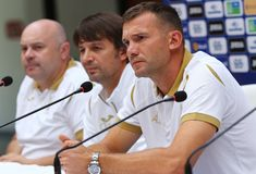 Andriy Shevchenko press-conference in Kyiv, Ukraine stock photo
