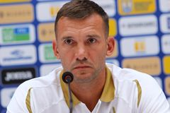Andriy Shevchenko press-conference in Kyiv, Ukraine stock images