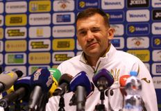 Andriy Shevchenko press-conference in Kyiv, Ukraine royalty free stock photography