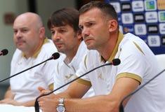 Andriy Shevchenko presskonferens i Kyiv, Ukraina arkivfoto