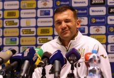 Andriy Shevchenko presskonferens i Kyiv, Ukraina royaltyfri fotografi