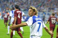 Andriy Shevchenko réagit après misssed un but Photo libre de droits
