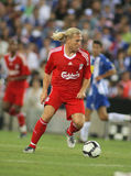 Andriy Voronin. Ukrainian player of Liverpool FC, in action during a friendly match against RCD Espanyol at the Estadi Cornella-El Prat on August 2, 2009 in Royalty Free Stock Images