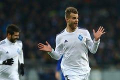 Andriy Yarmolenko庆祝进的球、UEFA欧罗巴16在发电机之间的秒腿比赛同盟回合和埃弗顿 库存图片