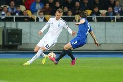 Andriy Yarmolenko跑与球、UEFA欧罗巴16秒腿比赛同盟回合在发电机之间和埃弗顿 图库摄影